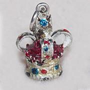 Sterling CROWN Enamel Painted Vintage Charm