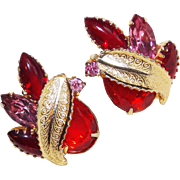 Fabulous RED & PINK RHINESTONE Vintage Estate Earrings