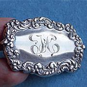 Antique UNGER BROS STERLING Slide - Engraved TC