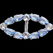 Gorgeous CZECH DECO Blue Glass Vintage Belt Buckle