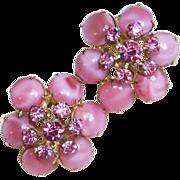 Fabulous D&E JULIANA Pink Rhinestone Vintage Earrings