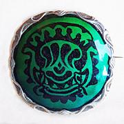 Fabulous STERLING & ENAMEL J Tostrup Norway Antique Pin Brooch