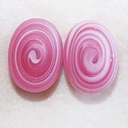 Gorgeous Swirled Pink Art Glass Vintage Earrings