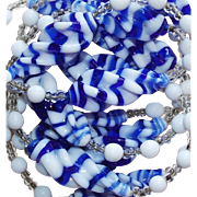 Gorgeous Blue & White Art Glass Beads Vintage Necklace