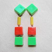 Groovy 1960s Green Orange Yellow Plastic Vintage Earrings