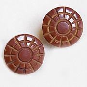 Gorgeous CARVED BAKELITE Brown Vintage Earrings