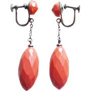 Gorgeous ART DECO Coral Celluloid Earrings