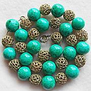 Fabulous ART DECO Green Glass & Filigree Vintage Necklace