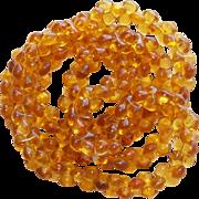 Gorgeous AMBER GLASS Dog Bone Beads Vintage Necklace