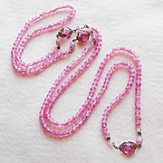 Gorgeous PINK CRACKLE GLASS Bead Vintage Necklace