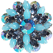 Gorgeous Aqua Glass & Aurora Rhinestone Vintage Pin Brooch