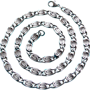 Vintage SIGNED STERLING Heavy Fancy Link Chain or Necklace - 90.6 Grams