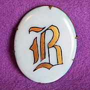 Antique Handpainted Porcelain Initial B Pin Brooch