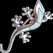 Fabulous LIZARD Sterling & Opal Vintage Pendant Pin Brooch
