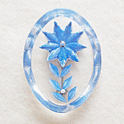 Gorgeous REVERSE CARVED LUCITE Blue Star Flower Vintage Pin Brooch