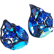 Gorgeous REGENCY Signed Blue Rhinestone Vintage Earrings