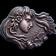 Gorgeous Antique ART NOUVEAU Lady & Water Lily Pin Brooch