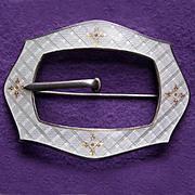 Fabulous STERLING & ENAMEL Antique Sash Pin Brooch