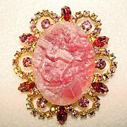 Fabulous D&E JULIANA Pink Geode Fancy Edge Rhinestone Brooch