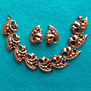 Gorgeous Copper Fancy Link Vintage Bracelet Set
