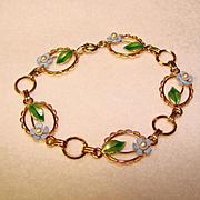 Fabulous KREMENTZ Enamel & Cultured Pearl Forget Me Not Bracelet