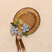 Fabulous KREMENTZ Enamel & Cultured Pearl Forget Me Not Hat Brooch