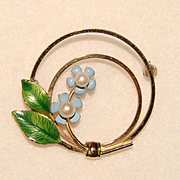 Gorgeous KREMENTZ Forget Me Not Cultured Pearl Brooch