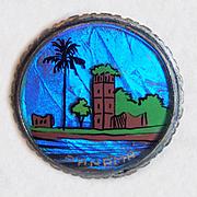 Fabulous Morpho Butterfly Wing Vintage Pin Brooch