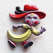 Strange BANANA GIRL Early Plastic Vintage Pin Brooch