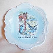 Antique Black Boy Negro & Bird Plate or Dish