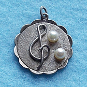 Vintage Sterling & Cultured Pearl Musical Note Charm