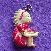 Vintage Celluloid Indian Chief Sitting Bull Charm
