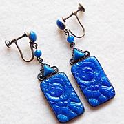 Fabulous Czech Art Deco Blue Glass Earrings