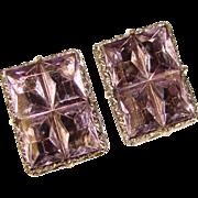 Fabulous LAVENDER GLASS Stones Huge Clip On Earrings