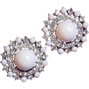 Gorgeous TRIFARI Signed White Stones & Rhinestone Vintage Earrings