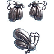 Gorgeous VICTORIA Mexican Sterling Butterfly Vintage Brooch Set