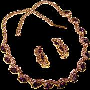 Fabulous PURPLE & LAVENDER Vintage Rhinestone Necklace & Earrings Set