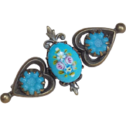 Tiny Victorian Antique Blue Glass Pin Brooch