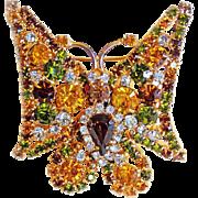 Fabulous BUTTERFLY Amber Green Rhinestone Vintage Brooch