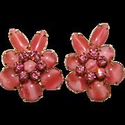 Fabulous D&E JULIANA Pink Glass & Rhinestone Vintage Earrings
