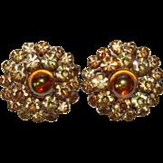 Fabulous COLOR EFFECT Vintage Rhinestone Clip Earrings
