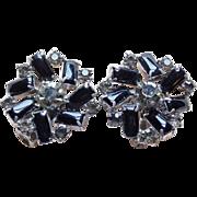 Gorgeous Black Glass & Smoke Rhinestone Vintage Earrings