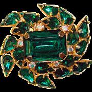 Fabulous GREEN RHINESTONE Large Stones Vintage Estate Brooch