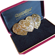 Gorgeous CRUMRINE Huge Vintage Heart Buckle in Box
