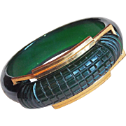 Gorgeous CARVED GREEN BAKELITE Vintage Bangle Bracelet