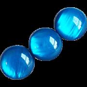 Vintage Huge Blue Plastic Buttons