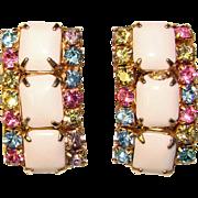 Gorgeous WHITE & MULTI Color Rhinestone Vintage Clip Earrings