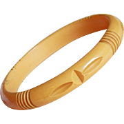 Gorgeous CARVED BAKELITE Yellow Vintage Bangle Bracelet