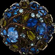 Fabulous BLUE & PERIDOT Green Rhinestone Brooch