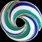 Gorgeous Trifari Blue Green White Enamel Vintage Brooch